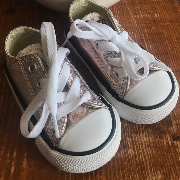 66bb6c57ab7 Converse Other - Converse Rose Gold Metallic Toddler Size 4 Girls